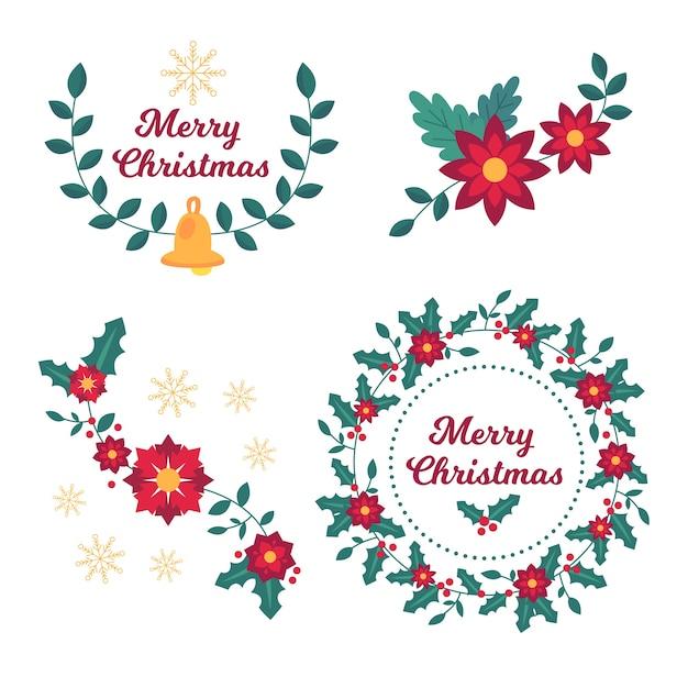 クリスマスの花と花輪のコレクション 無料ベクター