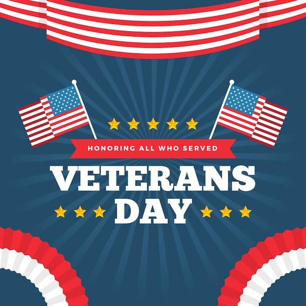 Плоский дизайн ветеранов день обои Бесплатные векторы