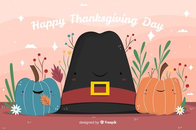 Ручной обращается фон благодарения в шляпе Бесплатные векторы