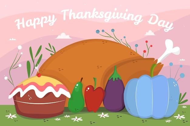 Рисованной обои благодарения с едой Бесплатные векторы