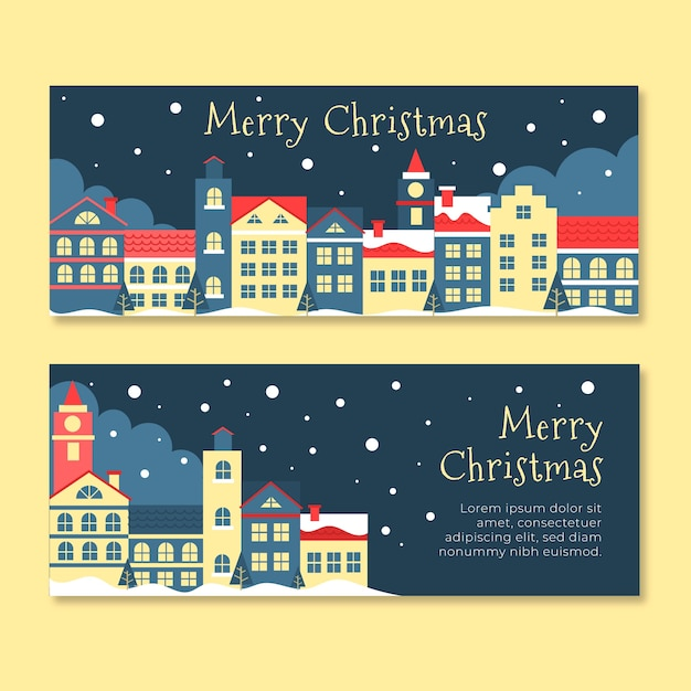 Плоский дизайн баннеров рождественский город установлен Бесплатные векторы
