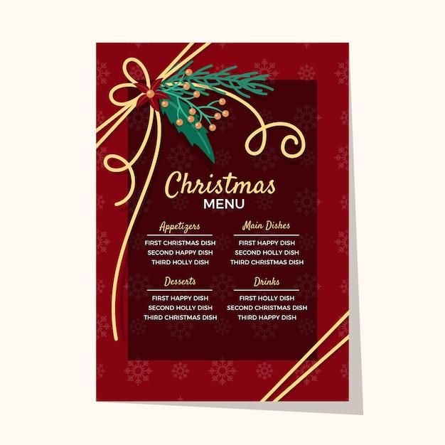 Рождественское меню плоский дизайн шаблона Бесплатные векторы