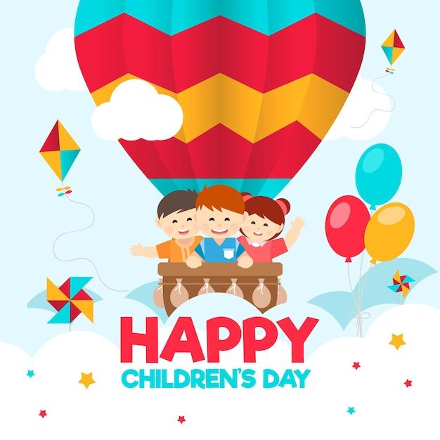 Плоский дизайн для дня детей Бесплатные векторы