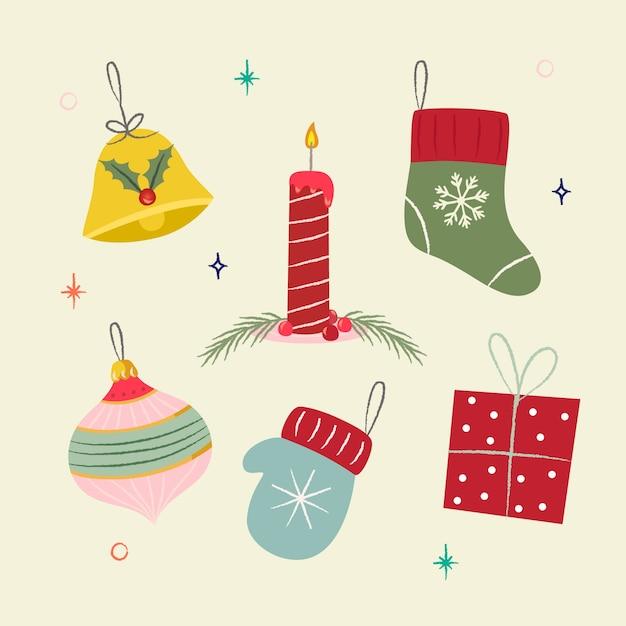 Ручной обращается рождественские украшения Бесплатные векторы