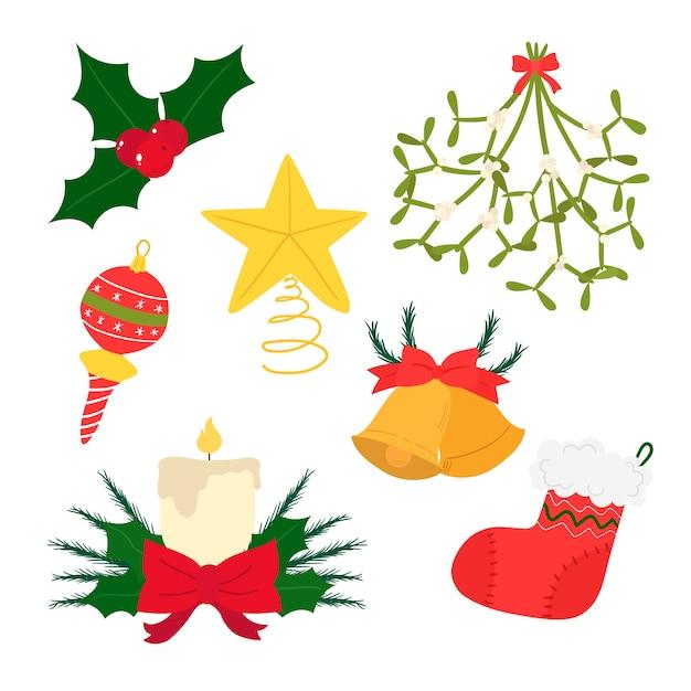 Новогоднее украшение в стиле рисованной Бесплатные векторы