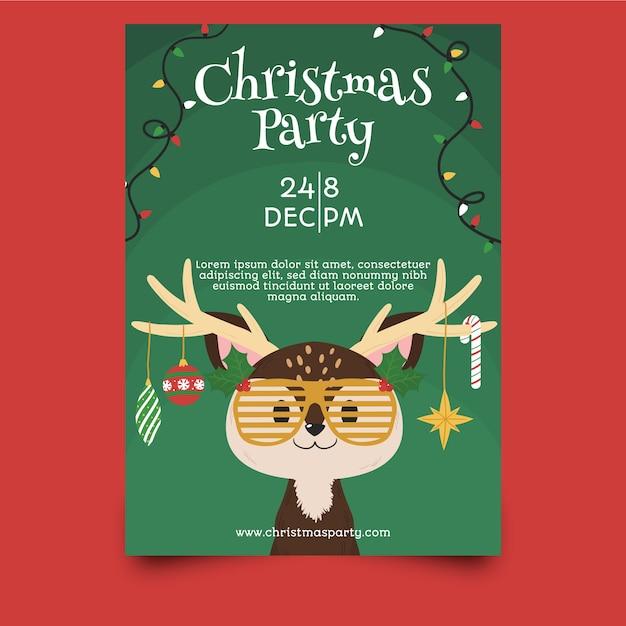 テンプレート手描きクリスマスパーティーのフライヤー 無料ベクター