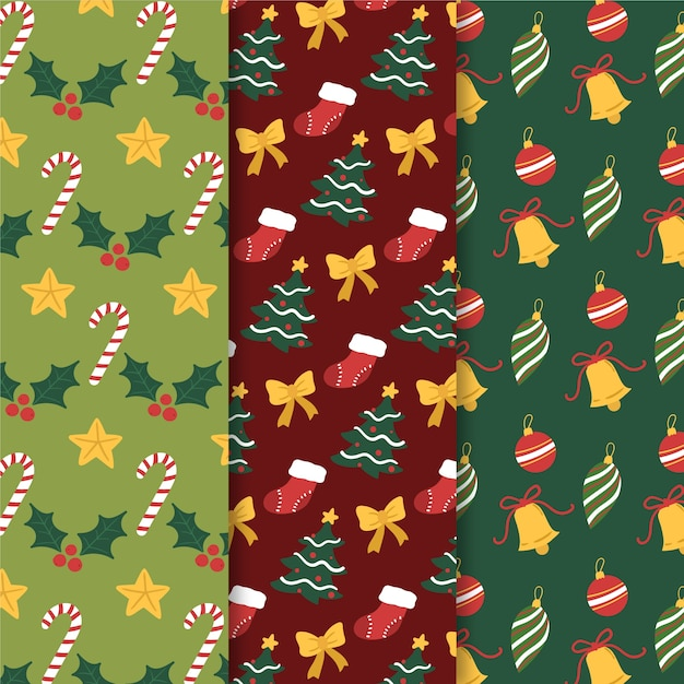 Ручной обращается рождественский набор шаблонов Бесплатные векторы