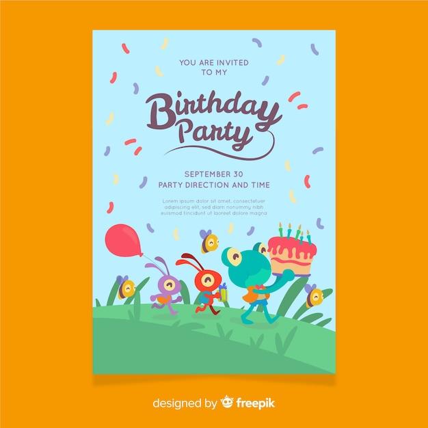 平らな誕生日の招待状のテンプレート 無料ベクター