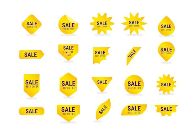 Коллекция желтых этикеток продаж Бесплатные векторы