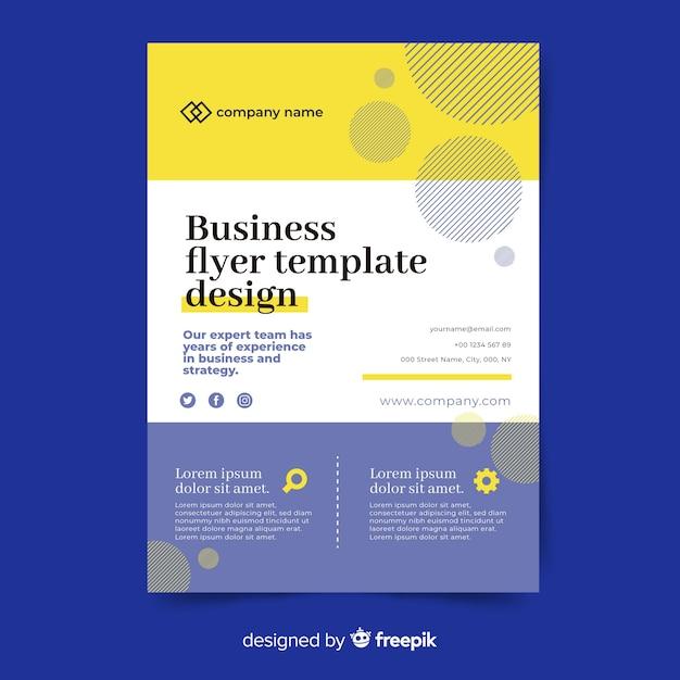抽象的なビジネスチラシテンプレートデザイン 無料ベクター