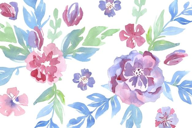 水彩花のファッショナブルなパターン 無料ベクター
