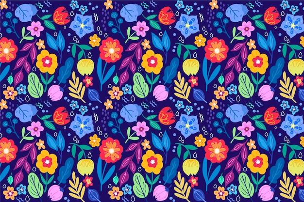 シームレスパターン背景を持つきれいな花 無料ベクター