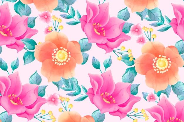 ピンクの背景とカラフルな花を描いた 無料ベクター