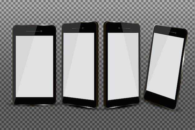 さまざまなビューセットで現実的なスマートフォン 無料ベクター