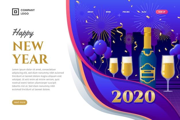 フラットなデザインの新年のランディングページ 無料ベクター