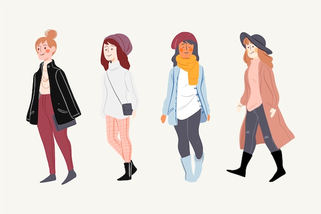 Люди в зимней одежде Бесплатные векторы