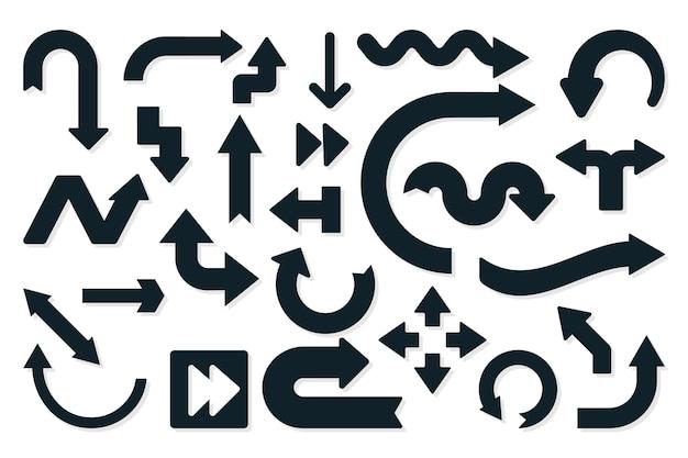 フラットなデザインの黒い矢印コレクション 無料ベクター