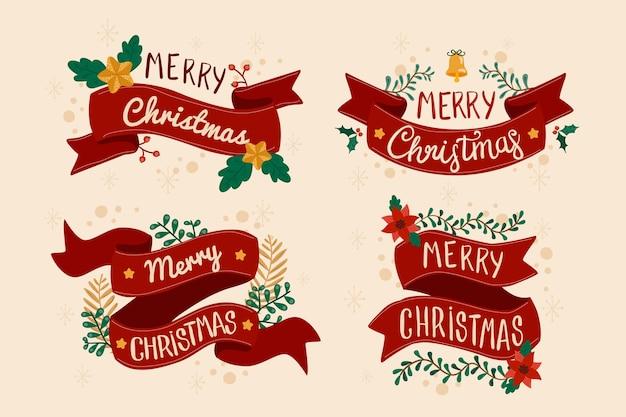 手描きコレクションクリスマスリボン 無料ベクター