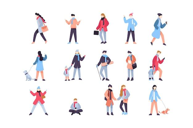 Пакет зимних иллюстраций людей Бесплатные векторы