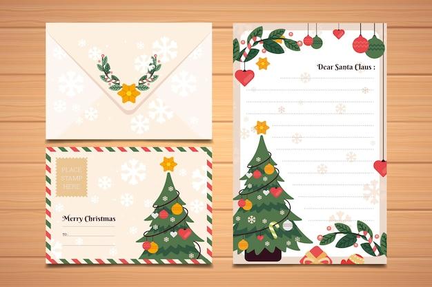 フラットなデザインのクリスマス文房具テンプレートコレクション 無料ベクター
