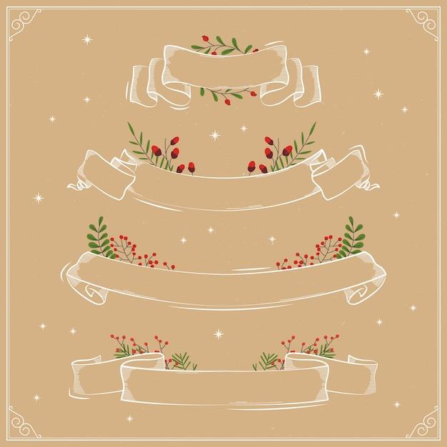 Ручной обращается рождественские ленты коллекции Бесплатные векторы