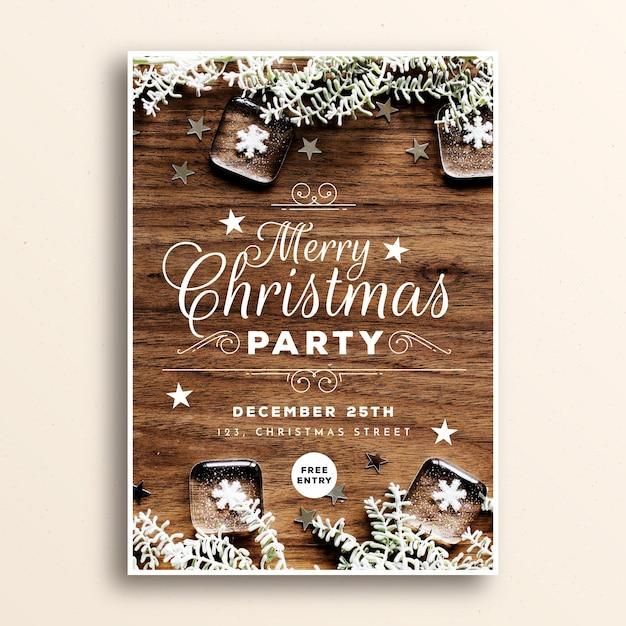 画像とクリスマスパーティーポスターテンプレート 無料ベクター