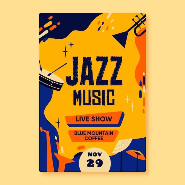 Абстрактный рисованной шаблон джазовой музыки плакат Бесплатные векторы