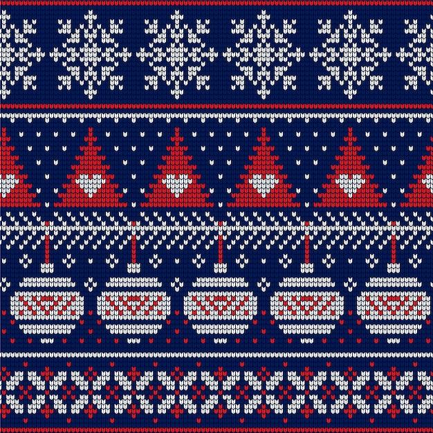 Красивый вязаный рождественский узор Бесплатные векторы