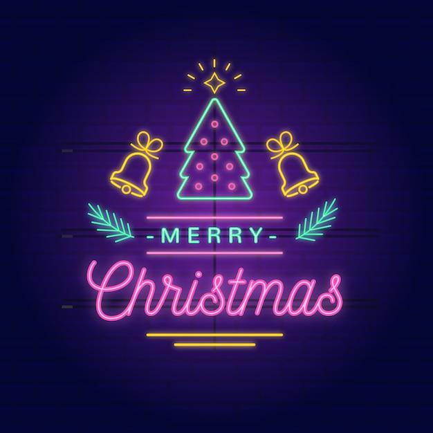 ネオンメリークリスマス 無料ベクター