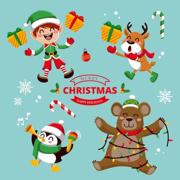 フラットなデザインのクリスマスキャラクターコレクション 無料ベクター