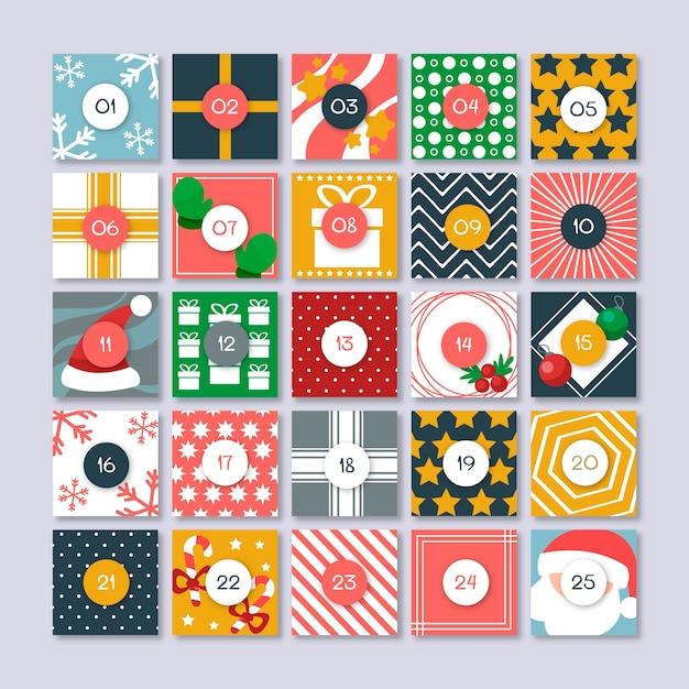 フラットなデザインのお祝いアドベントカレンダー 無料ベクター