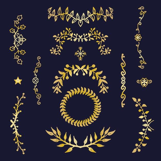 黄金のエレガントな飾りコレクション 無料ベクター