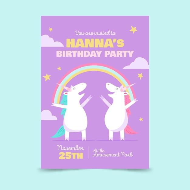Детский шаблон приглашения дня рождения с единорогами Бесплатные векторы