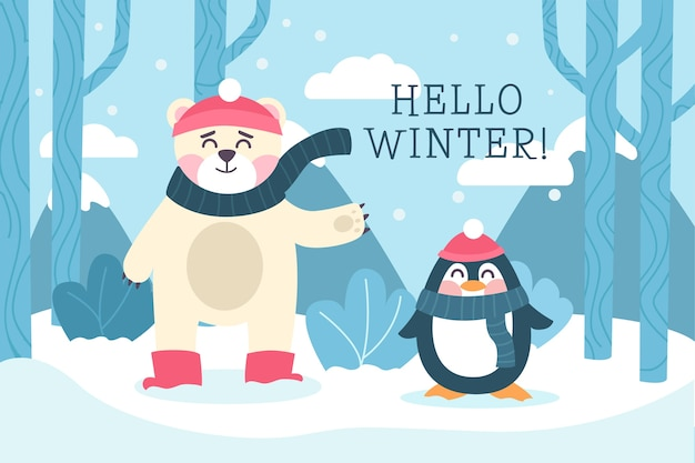 こんにちは、フラットなデザインの冬の背景 無料ベクター