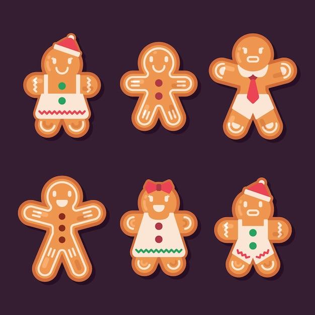 フラットなデザインのジンジャーブレッドマンクッキーコレクション 無料ベクター
