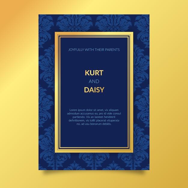 Синий элегантный дамасской шаблон свадебного приглашения Бесплатные векторы