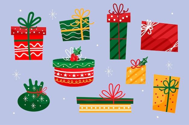 手描きクリスマスギフトコレクション 無料ベクター
