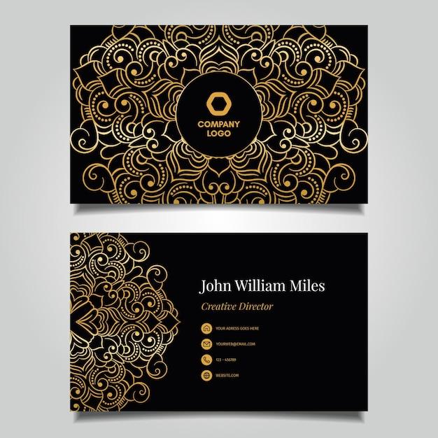 Золотой цветочный шаблон визитной карточки Бесплатные векторы