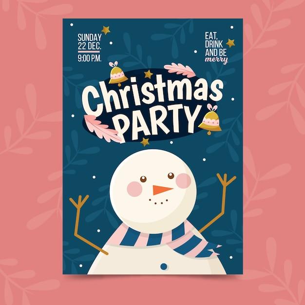 フラットなデザインのクリスマスパーティーポスターテンプレート 無料ベクター