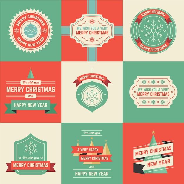 フラットなデザインのクリスマスバッジのコレクション 無料ベクター