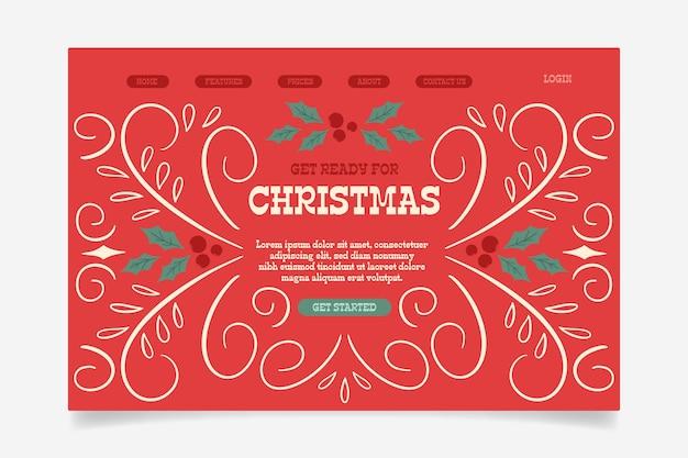 ビンテージクリスマスランディングページテンプレート 無料ベクター