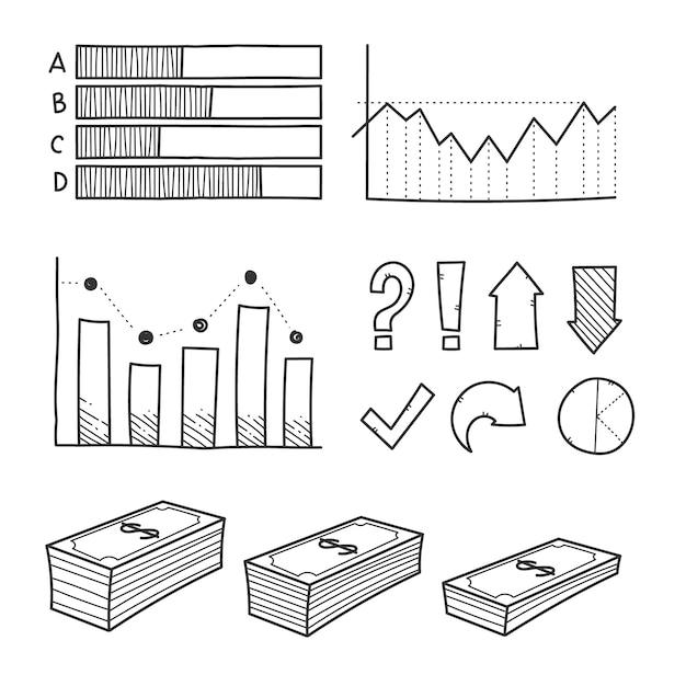Ручной обращается инфографики элемент коллекции Бесплатные векторы