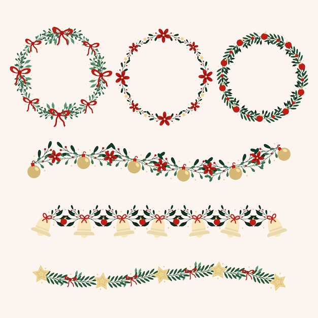 フラットなデザインのクリスマスリースコレクション 無料ベクター