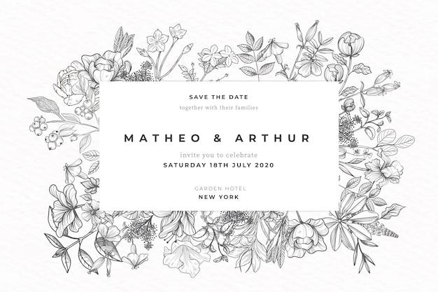 現実的な手描きの花の結婚式の招待状 無料ベクター