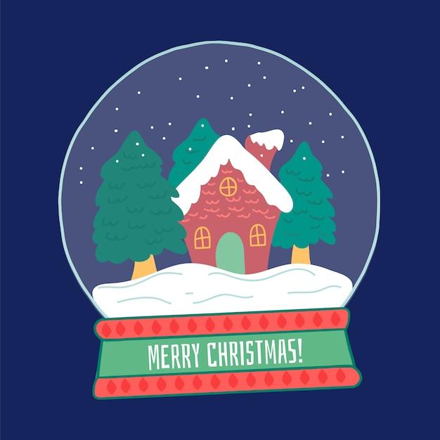 Ручной обращается рождественский снежный шар Бесплатные векторы