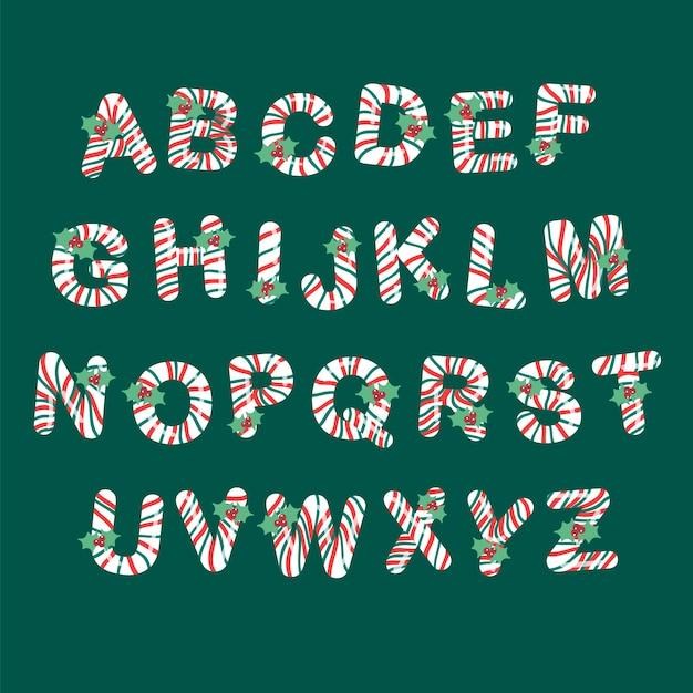 キャンディケインクリスマスアルファベットパック 無料ベクター