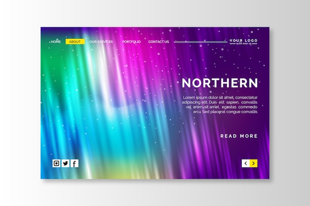 Шаблон целевой страницы северного сияния Бесплатные векторы