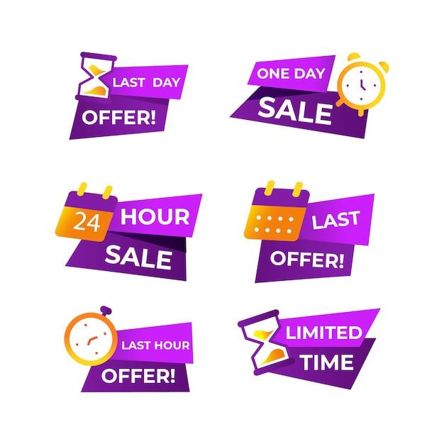 Набор баннеров обратного отсчета продаж Бесплатные векторы
