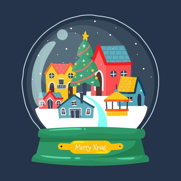 Ручной обращается рождественский снежный шар с домами Бесплатные векторы