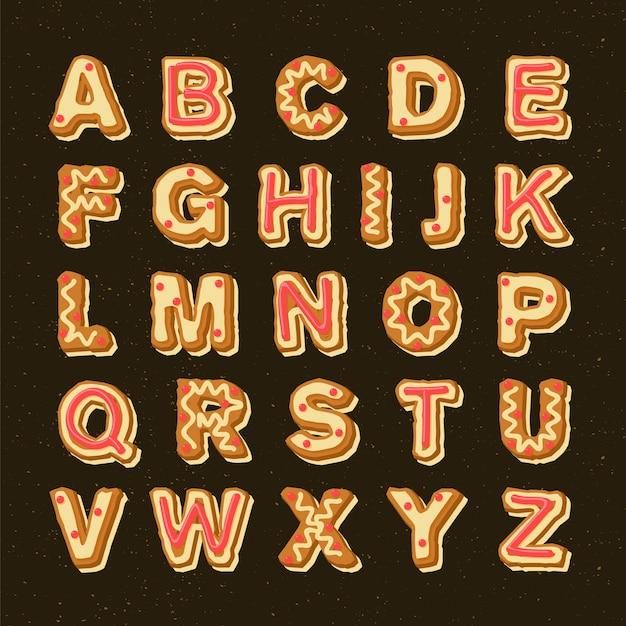 Пряник рождественская коллекция алфавит Бесплатные векторы